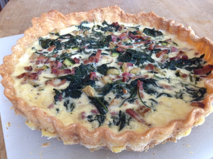 Bacon, salami, spinach, zuchinni, goat cheese quiche-FC3